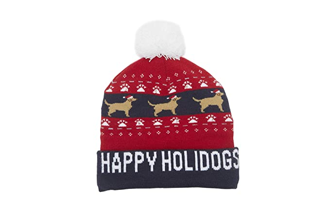 0b918792b1002 LED Light-Up Christmas   Winter Holiday  Happy Holidogs  Beanie Hat at  Amazon Men s Clothing store