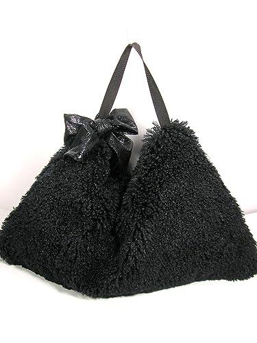 d2e787aa006c Amazon.com  Black Faux Fur Hobo Bag Black Fake Fur Hobo Bag Black Faux Fur  Shoulder Bag  Handmade