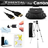 "Essential Kit For Canon VIXIA HF R82, R80, HF R800, HF R62, HF R60, HF R600, VIXIA HF R700, VIXIA HF R72, VIXIA HF R70 Camcorder Includes 50"" Tripod + Case + Mini HDMI Cable + Screen Protectors + More"