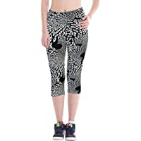 DaDa Deal Women's Print Active Workout Capri Pants Yoga Leggings Gym Fitted Stretch Tights