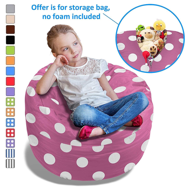 BeanBob Stuffed Animal Bean Bag - Kids Stuffed Animal Storage Bag Chair - Pouf Ottoman for Toy Storage 2ft Red Fruhling