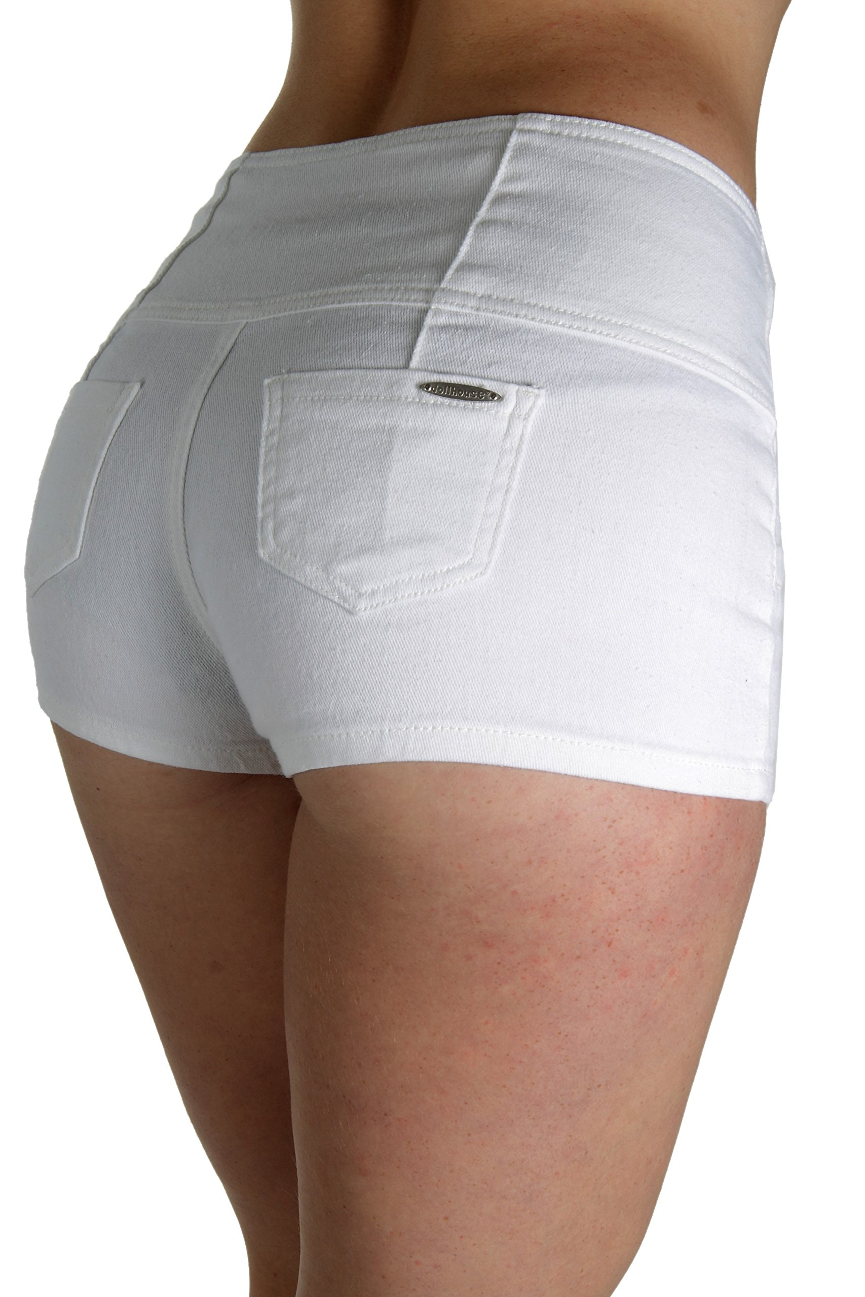 dollhouse AS8586SH, Premium High Waist Booty Shorts in White Size 7