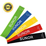 SUNOR Resistance Workout Bands for legs and butt Physical Therapy Fitness Exercise, Set of 5, 12 by 2 inches, Booklet & Handy Carry Bag Included