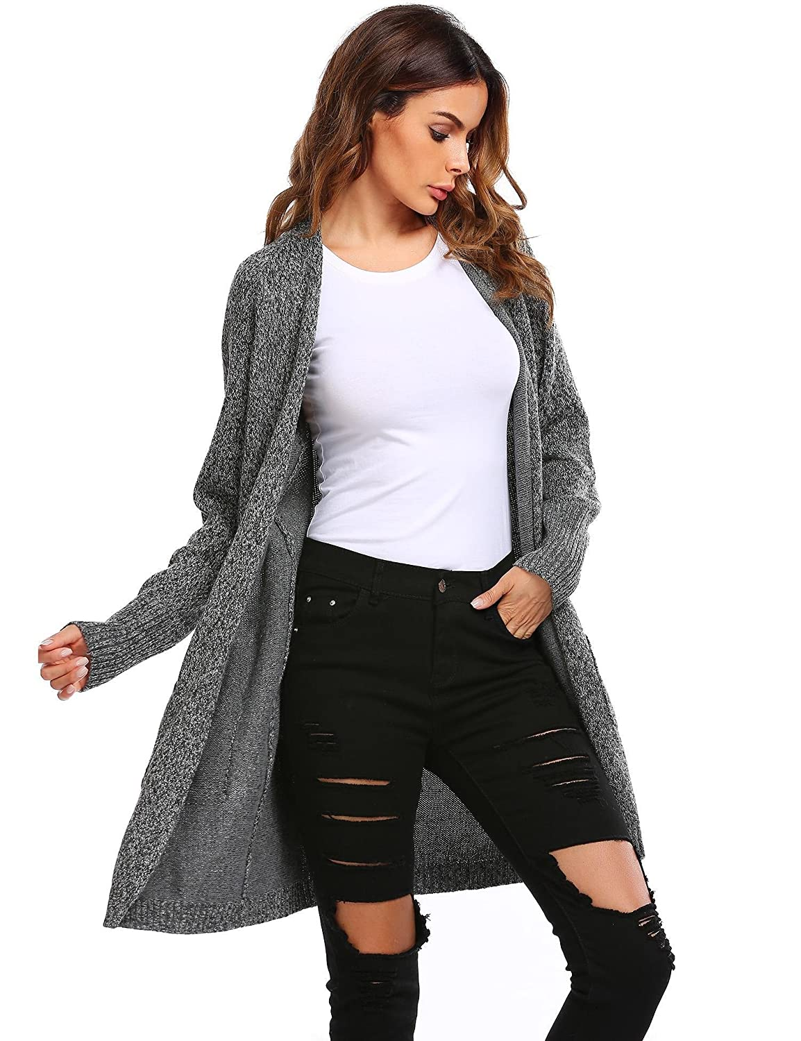 Cherish Women's Long Knit Open Cardigan With Side Pockets at ...