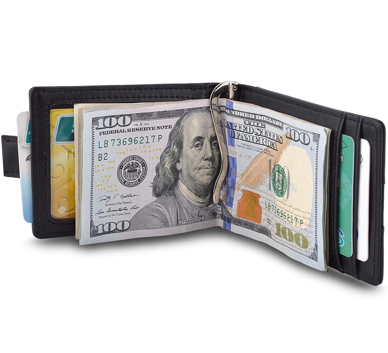 MaxGear RFIDブロックウォレット クレジットカードホルダー クレジットカード財布 本革ウォレット B06XYK1DRQGenuine Leather-black