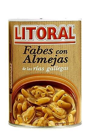 LITORAL Fabes con Almejas - Plato Preparado Sin Gluten - Pack de Fabes con Almejas de 2x440g