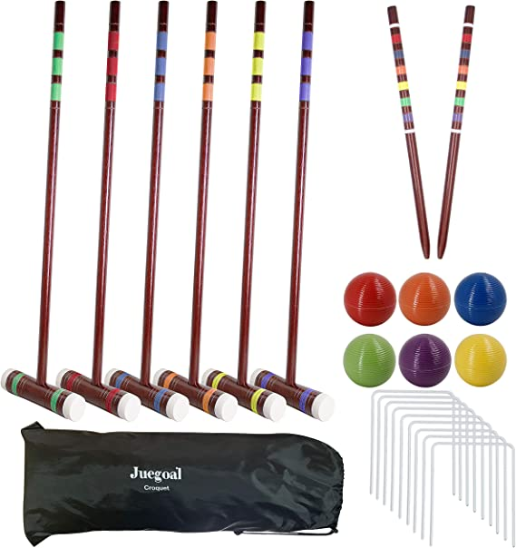 Amazon.com : Juegoal Six Player Deluxe Croquet Set with Wooden Mallets, Colored Balls, Brown Vintage Style, Sturdy Bag for Adults &Kids, Perfect for Lawn, Backyard and Park, 28 Inch : Sports & Outdoors