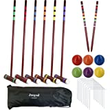 Juegoal Six Player Deluxe Croquet Set with Wooden Mallets, Colored Balls, Brown Vintage Style, Sturdy Bag for Adults…
