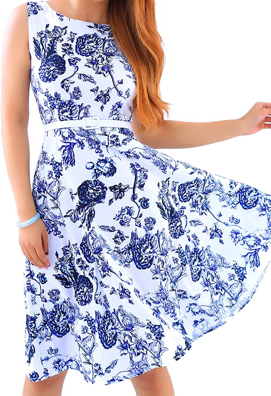 EFOFEI Womens Floral Printed Sleeveless Vintage Swing Summer Midi Party Retro Dress