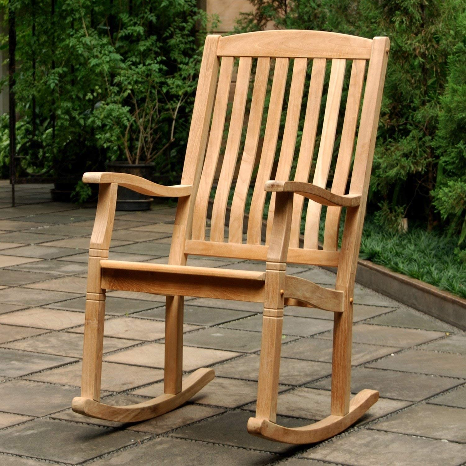 Amazon Com Outdoor Rocking Chairs Traditional Style Sherwood Natural Brown Teak Porch Rocking Chairs Garden Outdoor