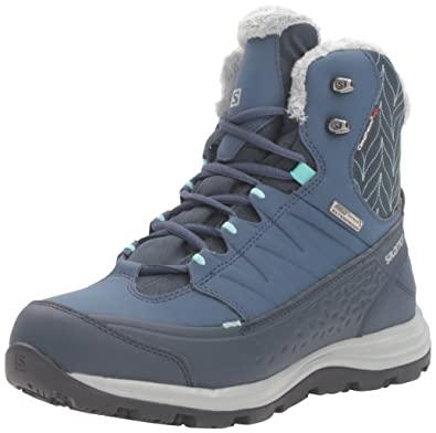 Salomon Women's Kaina Mid CS Waterproof 2-W Snow Boot, Deep Blue/Slateblue/Bubble Blue, 8 D US