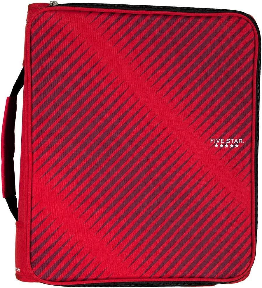 Five Star 2 Inch Zipper Binder, 3 Ring Binder, 6-Pocket Expanding File, Durable, Red (72538)