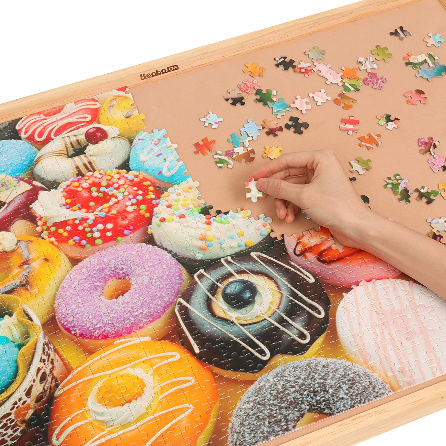 Becko 1000 Piece Jigsaw Puzzle Educational Puzzle Family Game Gift for Adults and Kids with Exquisite Color Box Donuts Feast Commedes