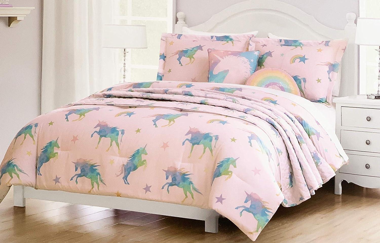 2b7acfe3b2d7f Amazon.com  Lil Envogue Pink Rainbow Unicorn Bedding Set Includes Comforter