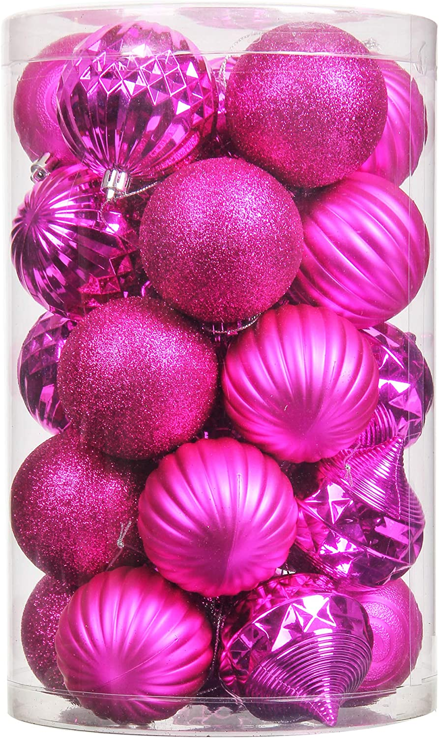 Costyleen Christmas Decoration Balls Ornaments Set Festival Home Party Decors Xmas Tree Hanging Decorative Baubles 31pc Hot Pink 1.97in/2.75in