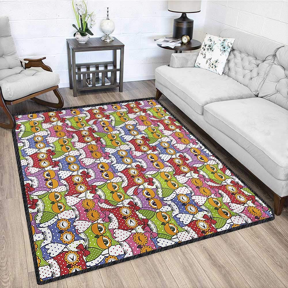 Owl, Anti Skid Rugs, Ornate Owl Crowd with Different Sights and Polka Dots Like Matryoshka Dolls Fun Retro Theme, Door Mats for Inside 5x7 Ft Multi by protectormax (Image #4)