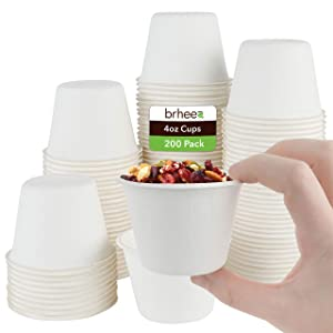 brheez 4 oz Disposable Bagasse Fiber Souffle Cups | 100% Natural Biodegradable & Compostable | Perfect for Condiments Small Portion & Samples Eco Friendly Paper Alternative - White [Pack of 200 Cups]