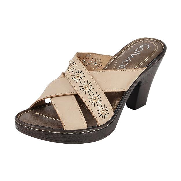 Catwalk Cream Slip-on Heel Sandals Women's Fashion Sandals at amazon