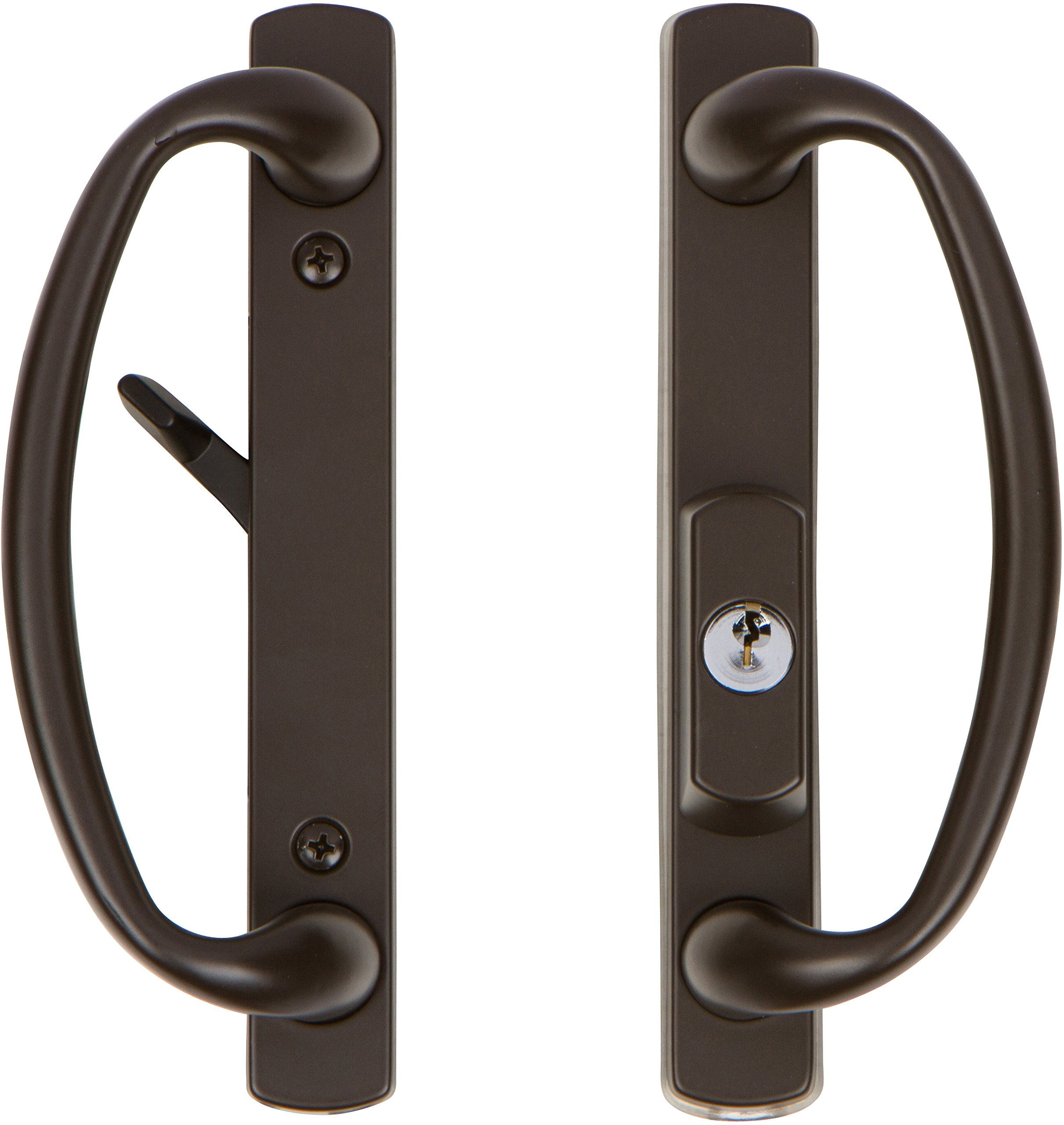 Rockwell Charlotte Offset Keylocking Sliding Door Handle with 3/4'' Offset Keylock in Tuscan Bronze only fits 1-3/4 inch thick doors with a 4 hole bore on the face of the door.