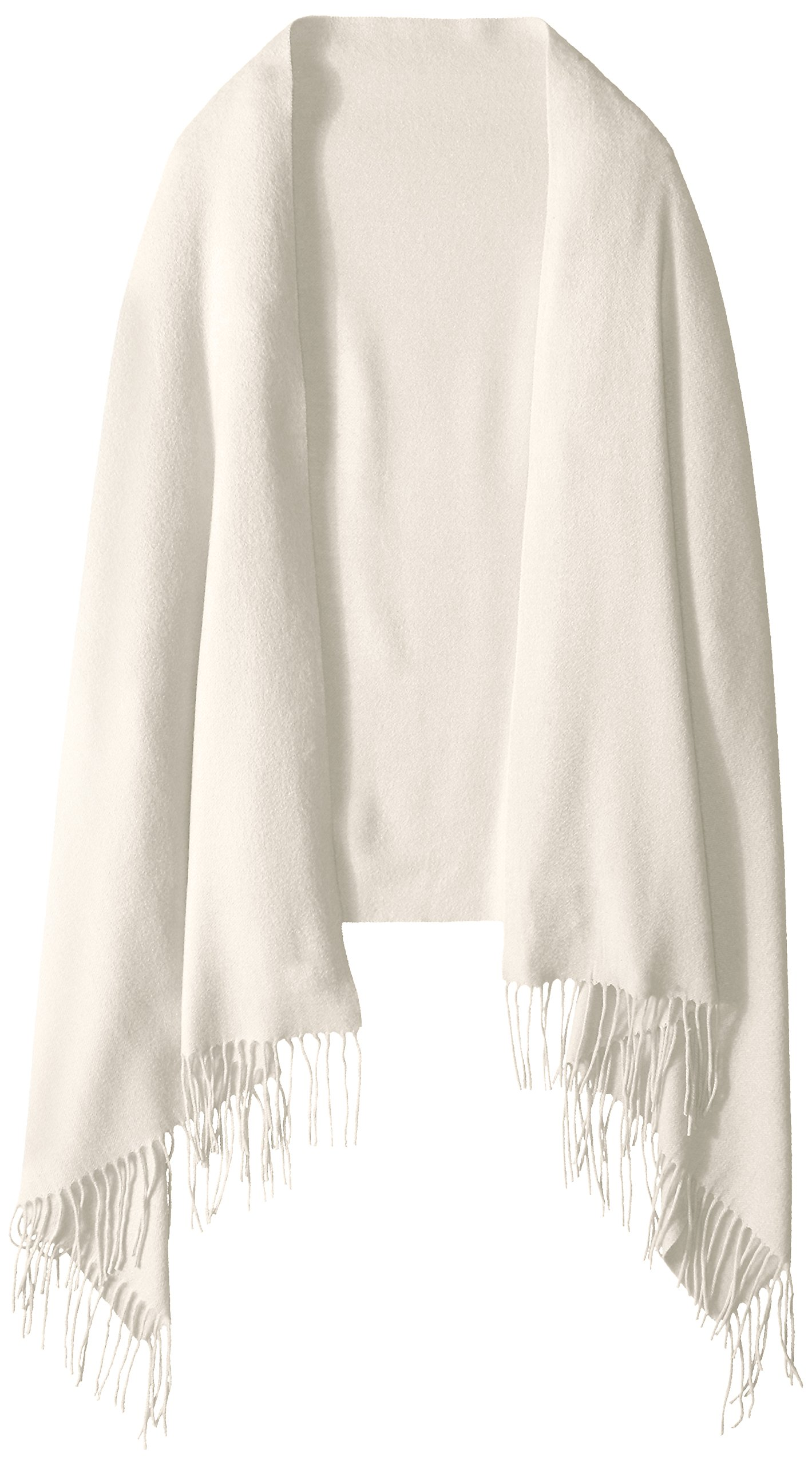 Phenix Cashmere Women's Solid 100 Percent Cashmere Wrap, Cream, One Size