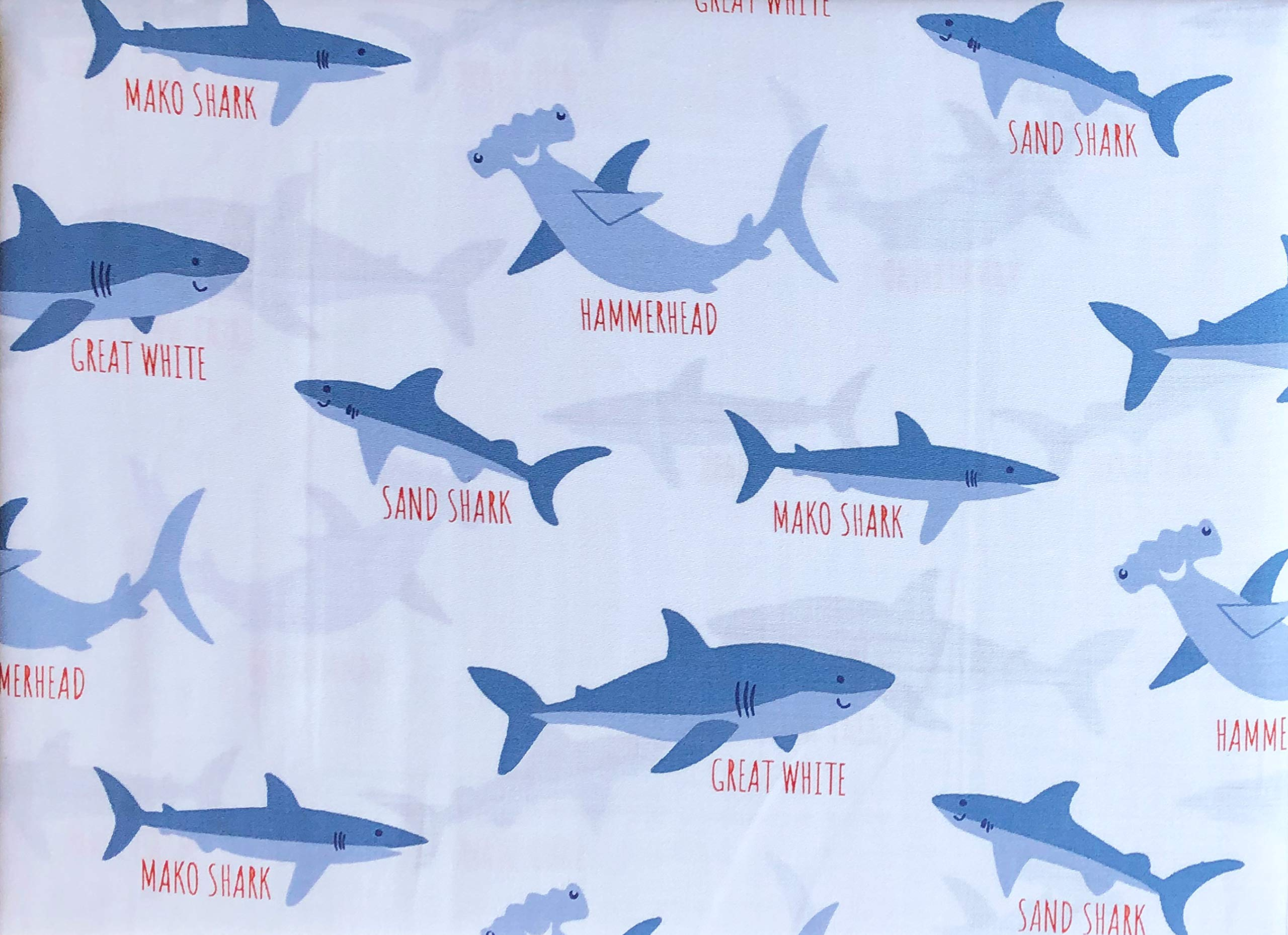 Authentic Kids 4pc Sheet Set Blue Sharks with Names Hammerhead Great White Sand Shark on White (Full) by Authentic Kids
