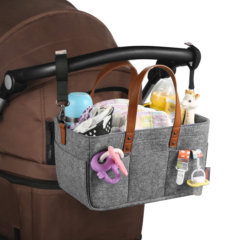 Gris GAGAKU Beb/é Pa/ñales Caddy de Almacenamiento Bin Cochecito Organizador Portable Pa/ñal Organizador para Coche Viaje