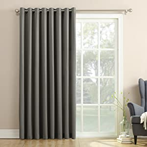 Sun Zero 46162 Barrow Extra-Wide Energy Efficient Sliding Patio Door Curtain Panel with Pull Wand, 100
