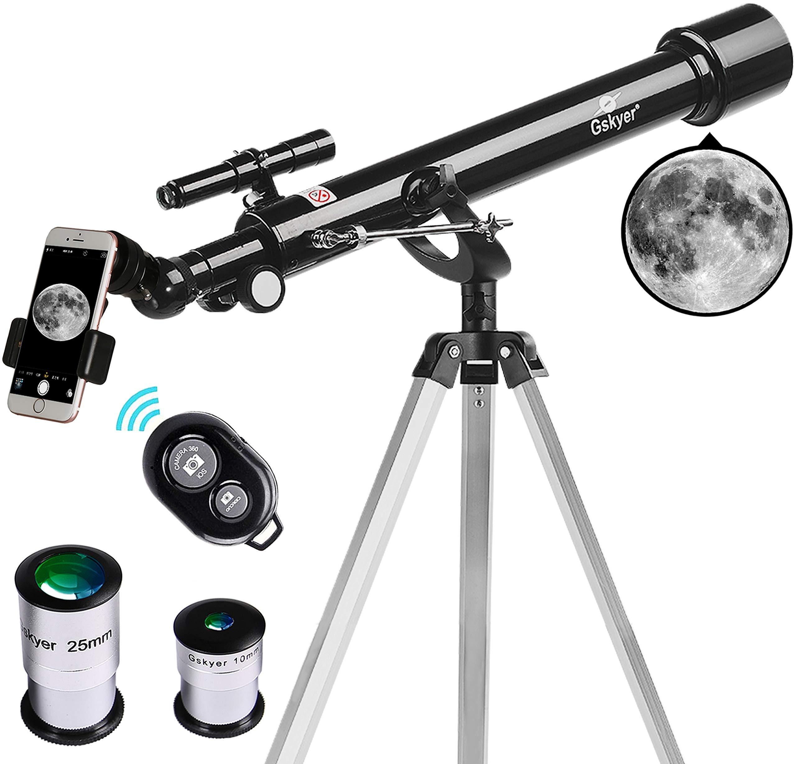 Telescope, 60mm Aperture 700mm AZ Mount Astronomy Refractor Telescope,Travel Scope with Smartphone Adapter and Wireless Remote for Kids & Beginner by Gskyer