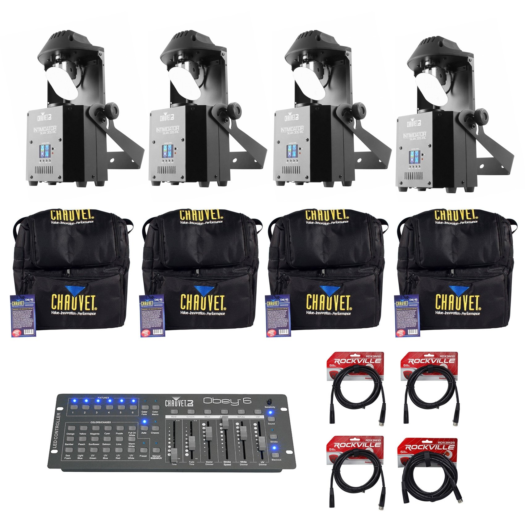4 Chauvet DJ Intimidator Scan 305 IRC LED Mirror Scanners+Bags+Controller+Cables