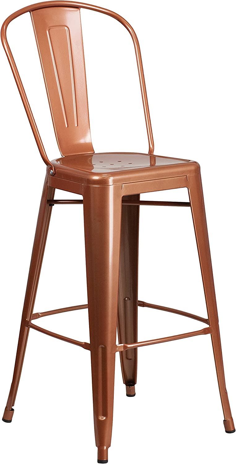 "Flash Furniture Commercial Grade 30"" High Copper Metal Indoor-Outdoor Barstool with Back"