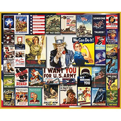 White Mountain Puzzles WWII Poster Collage - 1000Piece Jigsaw Puzzle: Toys & Games