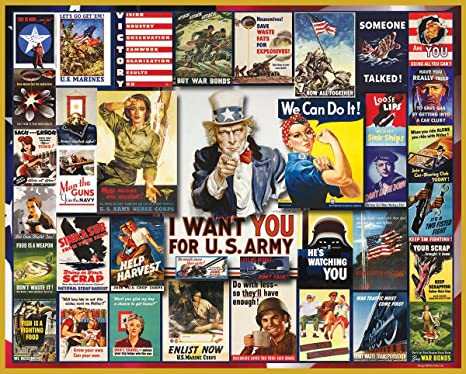 White Mountain Puzzles WWII Poster Collage - 1000Piece Jigsaw Puzzle