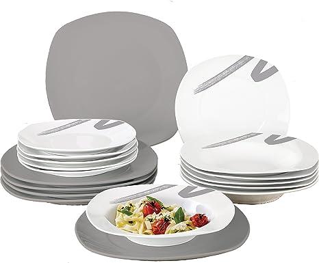 borella piatti  Borella Casalinghi Lido Servizio Piatti Quadrato, Ceramica, Grigio ...