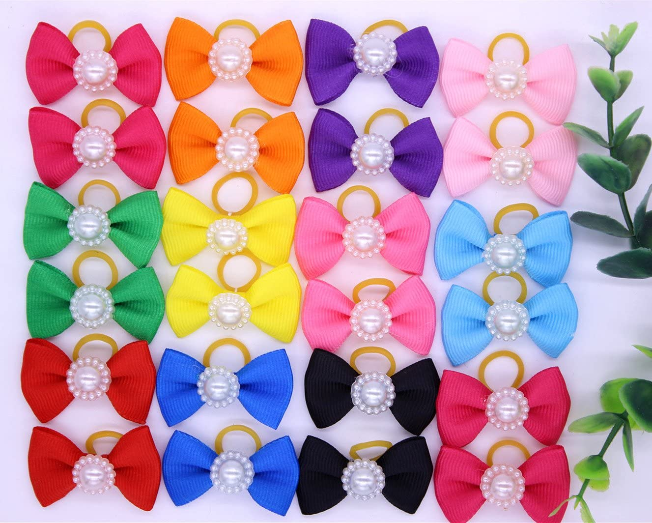 yagopet 20pcs//10pairs Dog Hair BowsTopknot Solid Colors Bows with Pearls Pet Dog Grooming Bows Pet Supplies Hair Accessories
