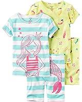Carters Little Girls 4-Piece Snug Fit Cotton Pajamas (2T, Mermaid)