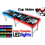 8-Foot Beer Pong Table w/ OPTIONAL Cup Holes, LED Glow Lights, Dry Erase Surface, & More...