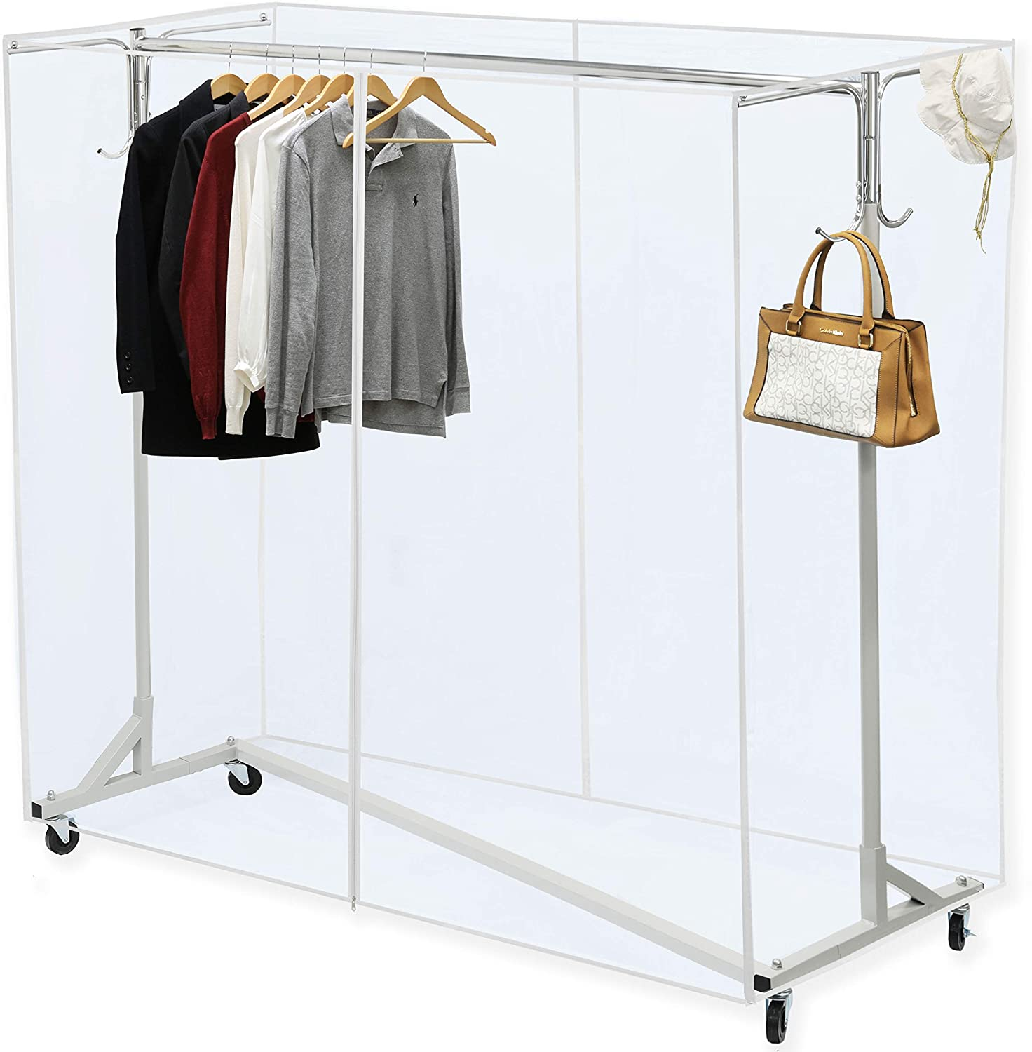 """Simple Houseware Industrial Grade Z-Base Garment Rack, 400lb Load with 62"""" Extra Long bar w/Clear Cover and Tube Bracket"""