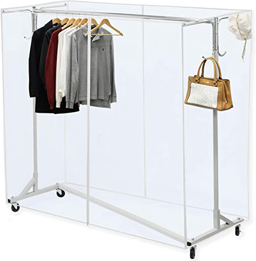 Amazon Com Simple Houseware Industrial Grade Z Base Garment Rack 400lb Load With 62 Extra Long Bar W Clear Cover And Tube Bracket Home Kitchen
