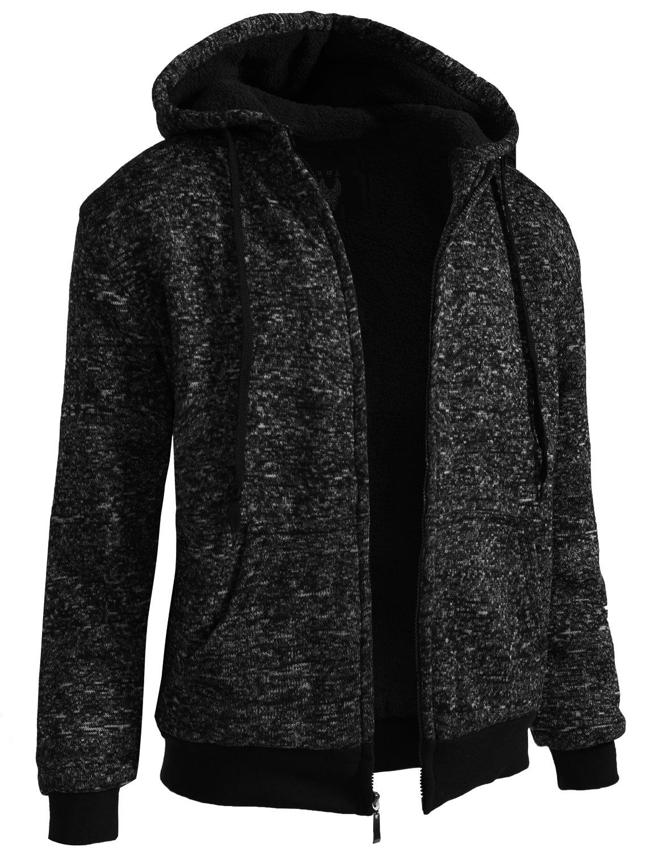 J. LOVNY Mens Basic Comfortable Sherpa Lined Zip Up Fleece Hoodie Jacket S-2XL