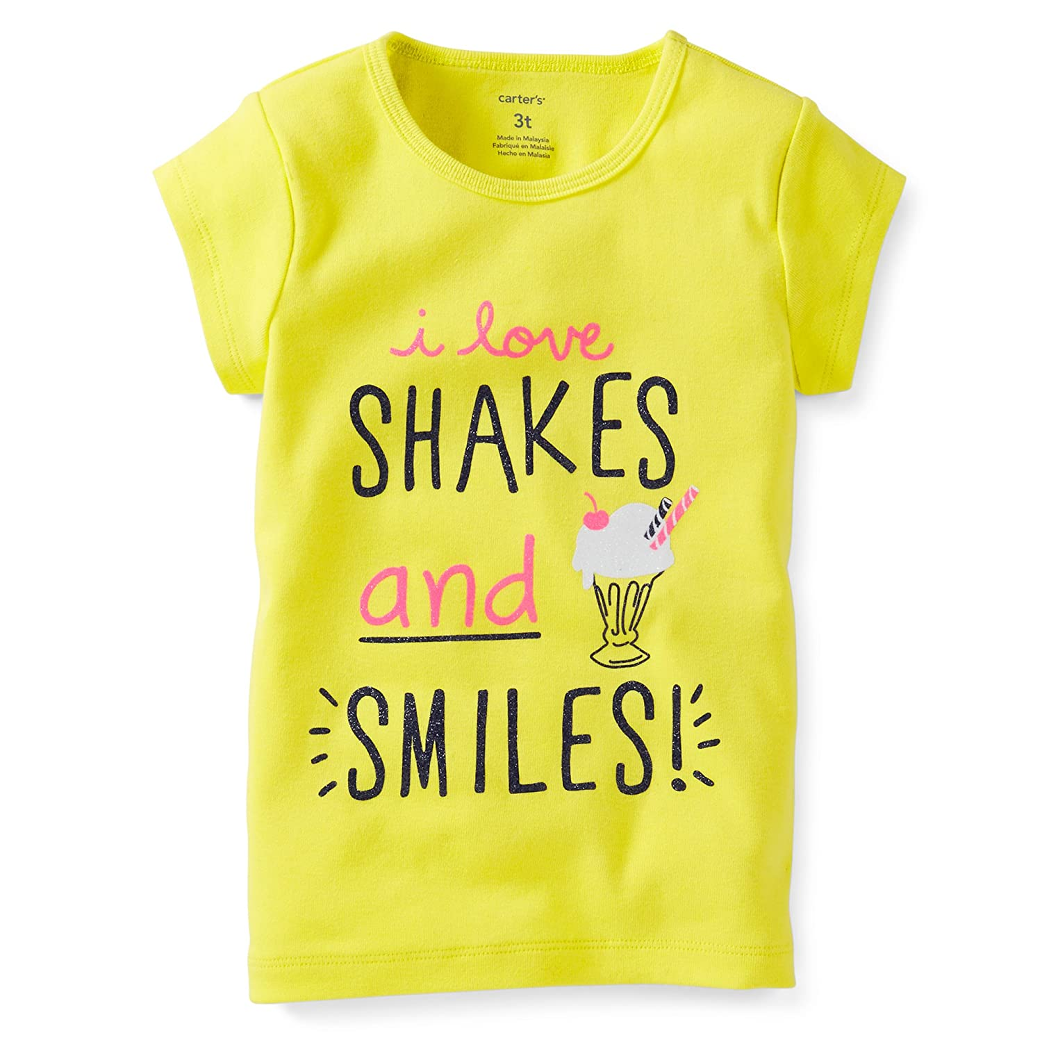 Carters Baby Girls Short Sleeve I love shakes and smiles Yellow S//S Tee