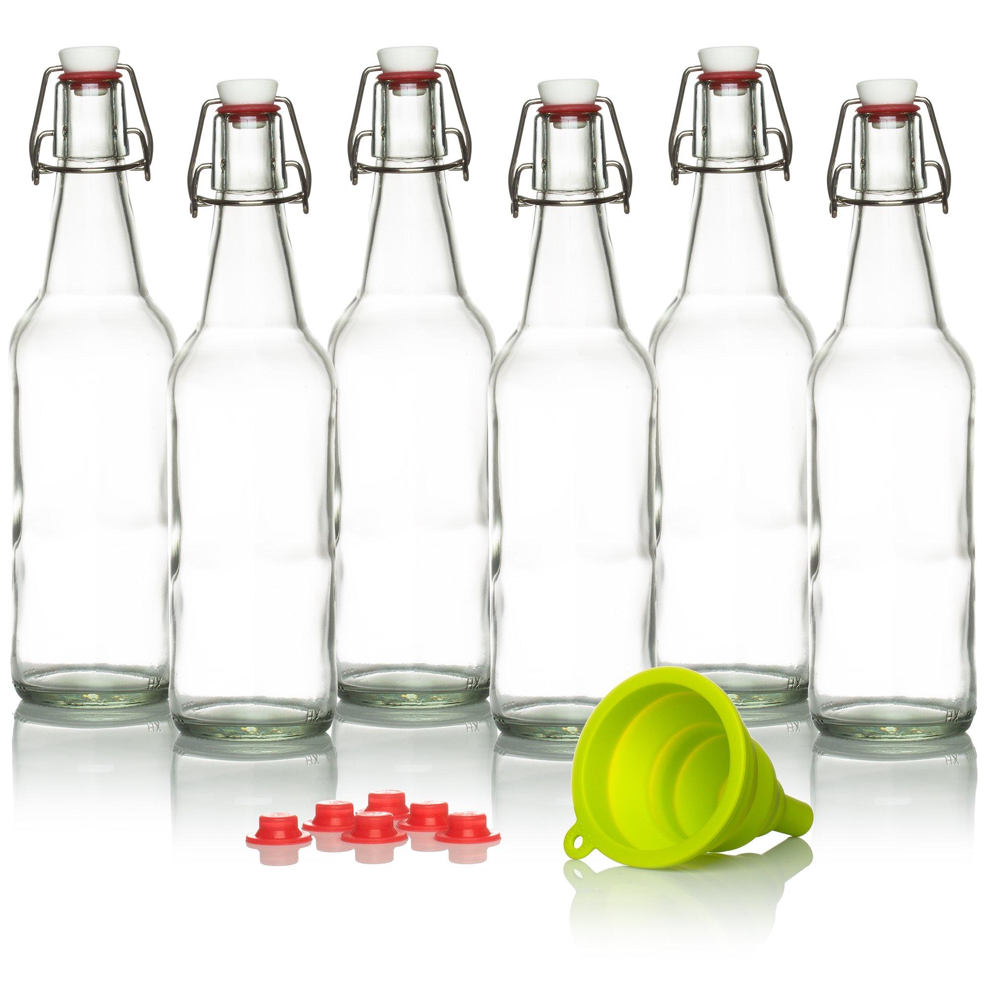 Swing Top Glass Bottles Brewing Bottles For Kombucha, Beer, Kiefer - 16 oz. - Grolsch Style Bottle (6 set) with Funnel by Hemlock Home Brewing