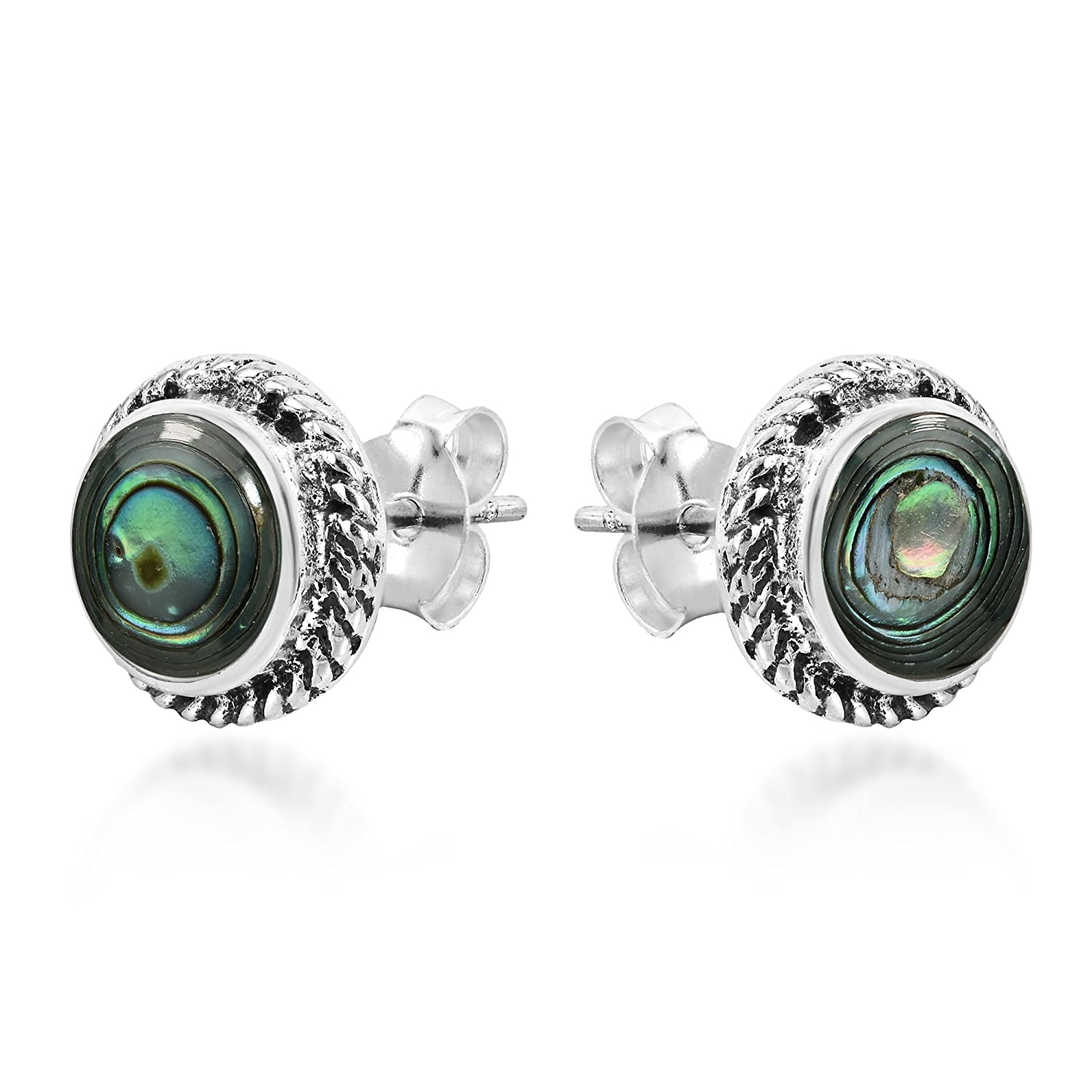 Classic /& Stylish Round Abalone Shell Inlays .925 Sterling Silver Stud Earrings