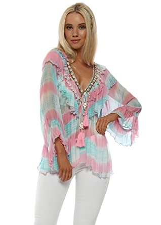 ec7b89499b1 Laurie   Joe Shell Embellished Tie Dye Top S M Multicolour  Amazon ...