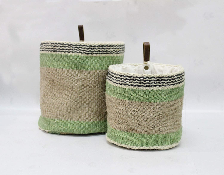YOKU Jute Rope Woven Baskets for Storage, Organizing & Home Décor; De-Clutter The Home Office Desk, Kids & Dog Toy Tidy, Stylish Laundry Peg Basket, Wall Shelf Hanging Planter, Baby Nursery Décor