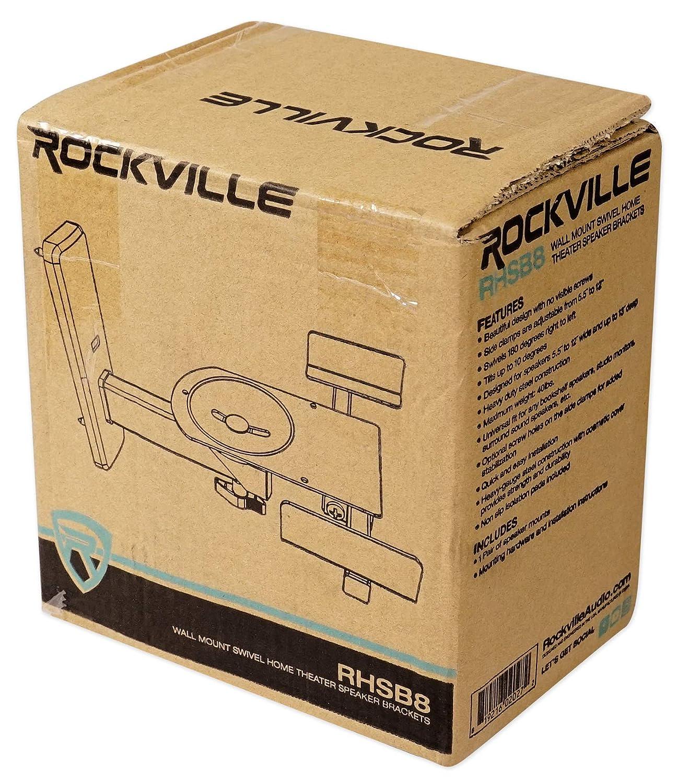 Pair Rockville RHSB8 Wall Mount Swivel Home Theater Bookshelf Speaker Brackets