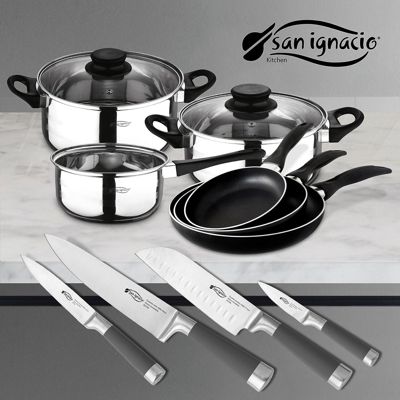 San Ignacio PK331 Set Tres sartenes + Batería de Cocina 5 Piezas + Juego de Cuchillos, Cromado: Amazon.es: Hogar