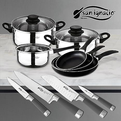 San Ignacio PK331 Set Tres sartenes + Batería de Cocina 5 Piezas + Juego de Cuchillos