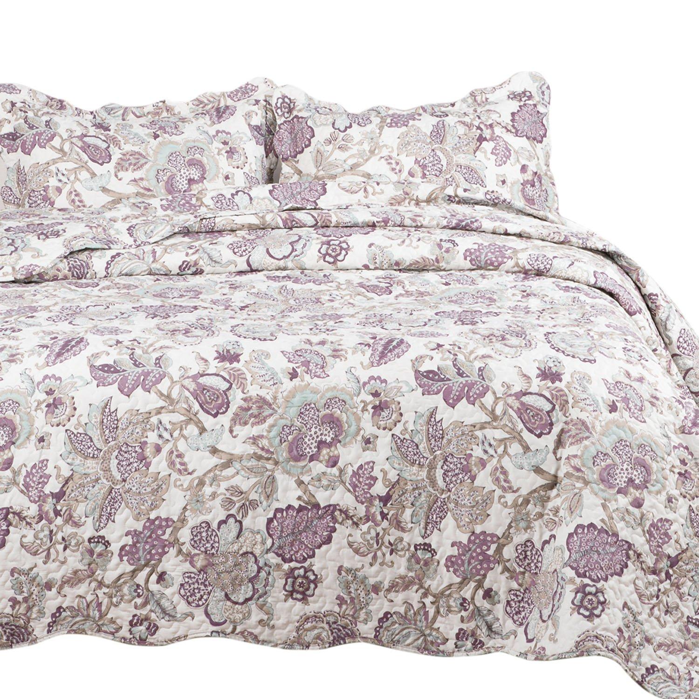 "Bedsure Spring Bedding Quilt Set Luxury Bedroom Bedspread Pastoral Floral Pattern Full/Queen Size 90""x96"" Microfiber Lightweight Vintage"