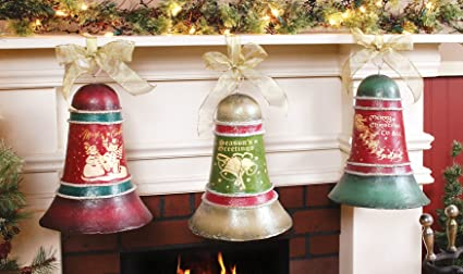 3 pc set of large decorative christmas bells for indoor decor