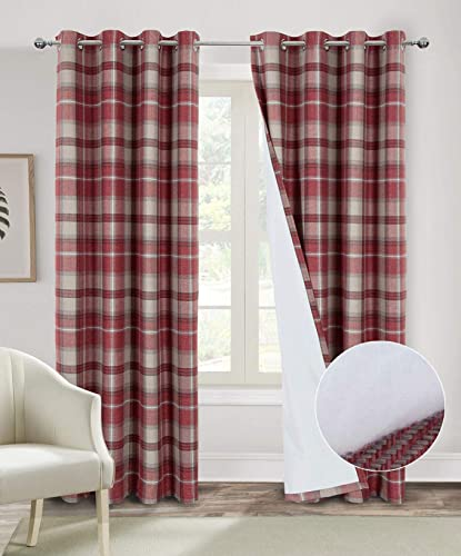 Always4u Red Plaid Curtains Thermal Insulated Curtains 95 Inches Length Double Layer Thermal Curtains